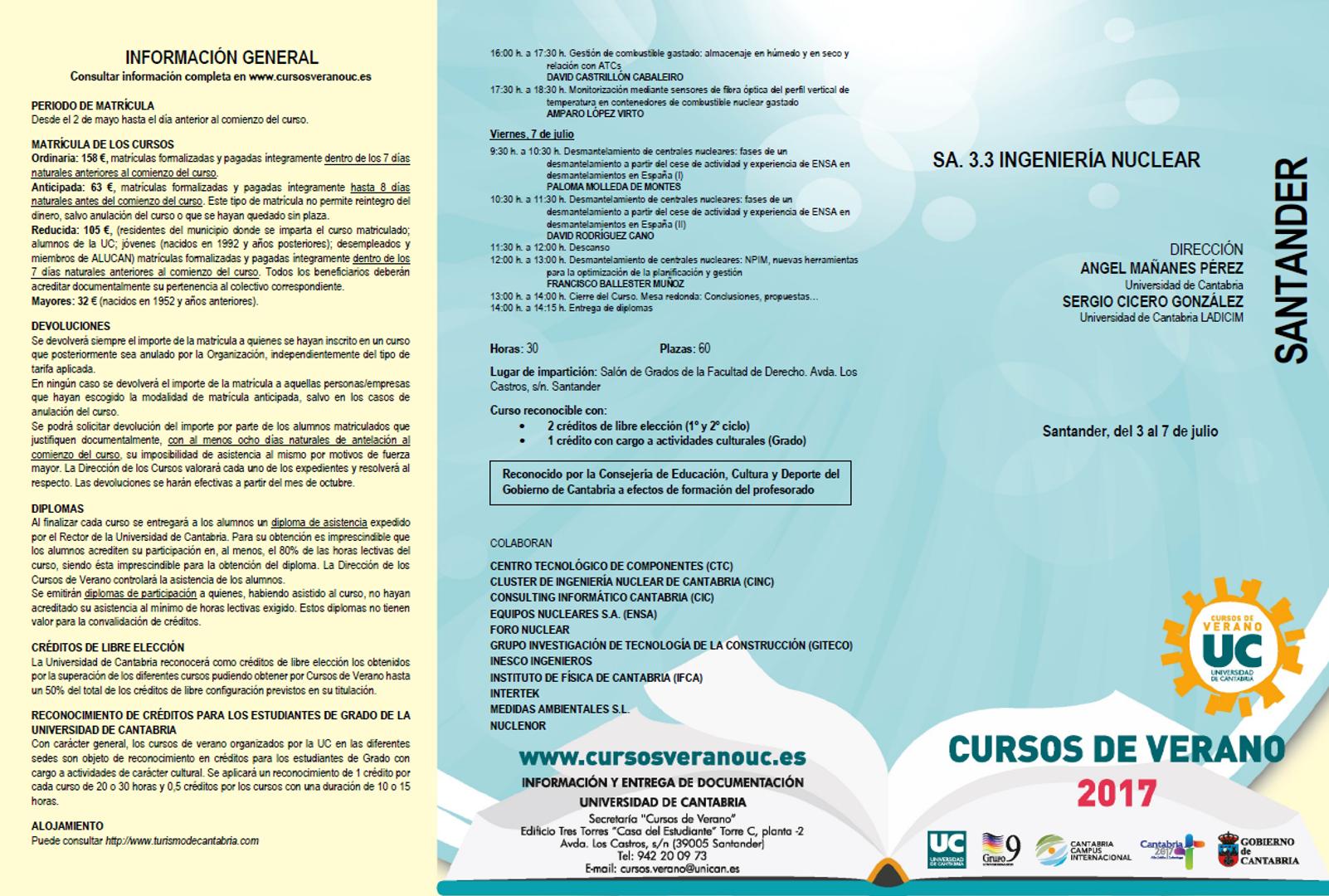 CINC organiza el Curso de Verano de la UIMP del 3-7 Julio