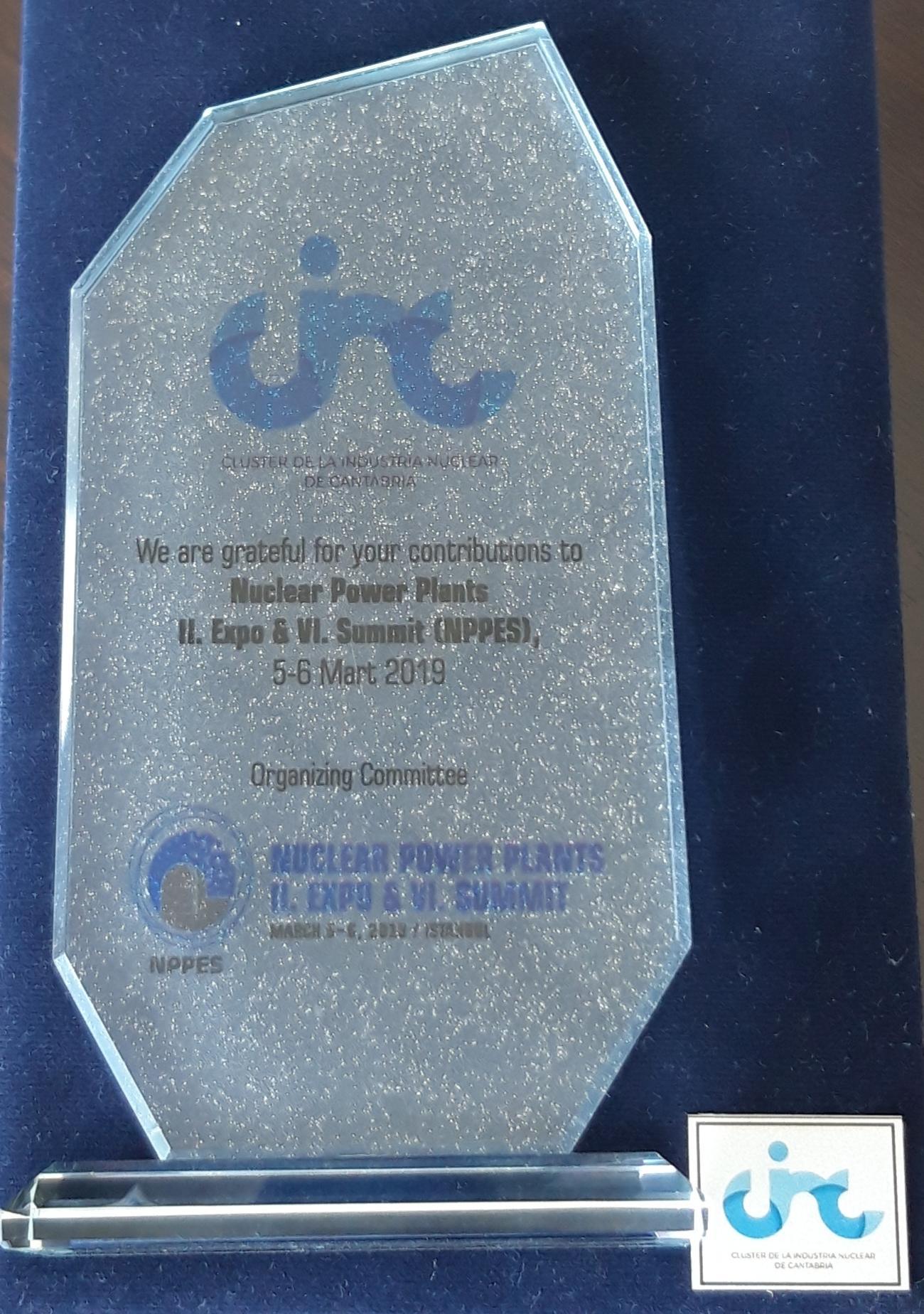 El CINC premiado por el Comité Organizador del Nuclear Power Plants II. Expo & VI Summit